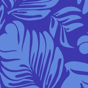 Tropical Leaves True Blue