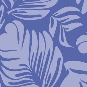 Tropical Leaves  Blue Hues