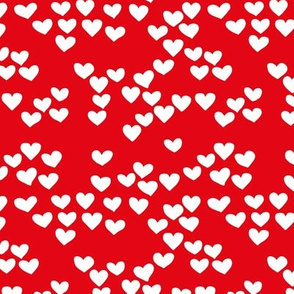 Pastel love hearts tossed hand drawn illustration pattern scandinavian style in red Small