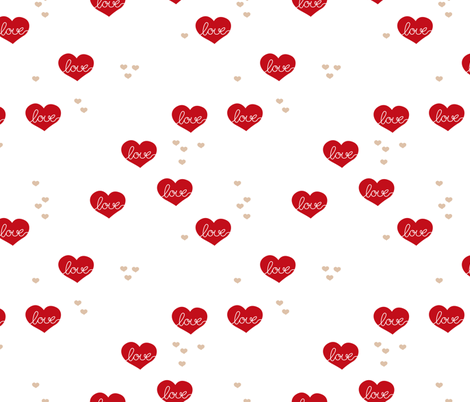 Sweet love scandinavian hearts cool pastel blue valentine and wedding theme red LARGE fabric by littlesmilemakers on Spoonflower - custom fabric