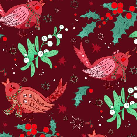 birds and berry fabric by torysevas on Spoonflower - custom fabric