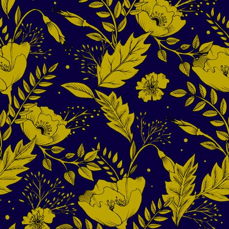 Folkesy Flowers  Night Blue fabric by lascarlatte on Spoonflower - custom fabric