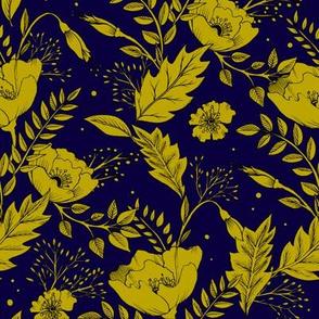 Folkesy Flowers  Night Blue