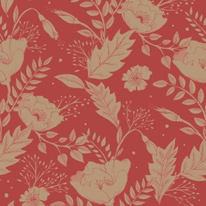 Folkesy Flowers Vintage Red