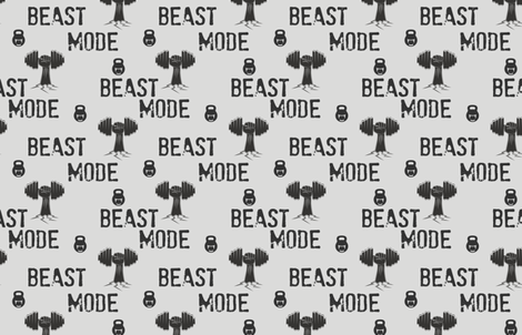 Beast mode, gym and fitness, kettlebells and crossfit, weight lifting fabric by lub_by_lamb on Spoonflower - custom fabric