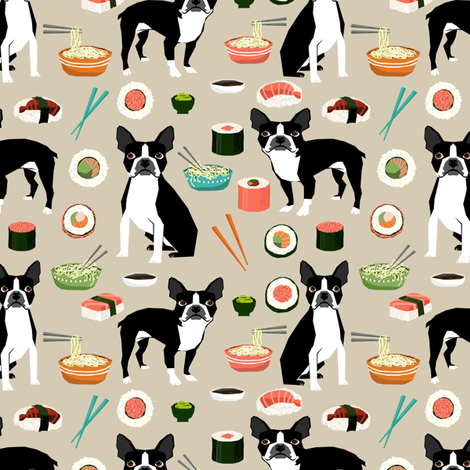 boston terrier sushi fabric cute japanese food design kawaii crafts and sewing fabric by petfriendly on Spoonflower - custom fabric