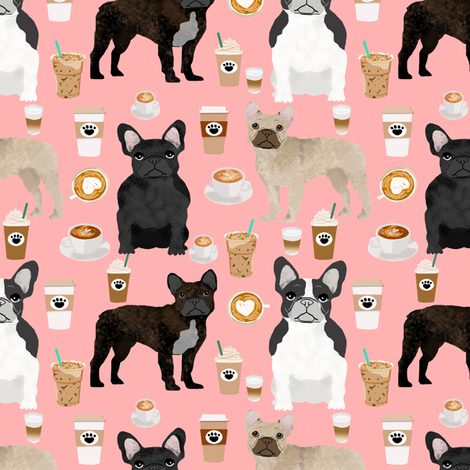 french bulldogs coffee cute frenchies fabric best french bulldog designs fabric by petfriendly on Spoonflower - custom fabric