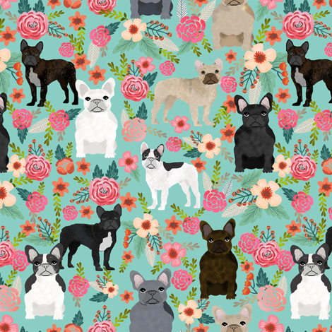 frenchie florals fabric cute french bulldogs fabrics best pet designs fabric by petfriendly on Spoonflower - custom fabric