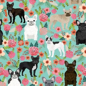 frenchie florals fabric cute french bulldogs fabrics best pet designs