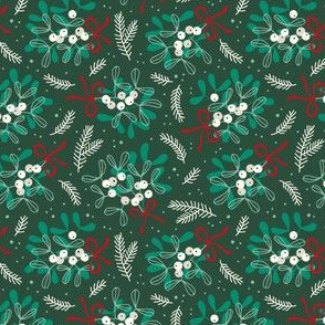 Vintage christmas ditsy mistletoe on dark green
