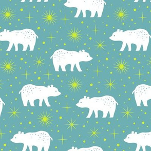 Polar bear with norther light stars (light)