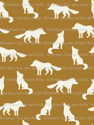 Wolf on golden brown