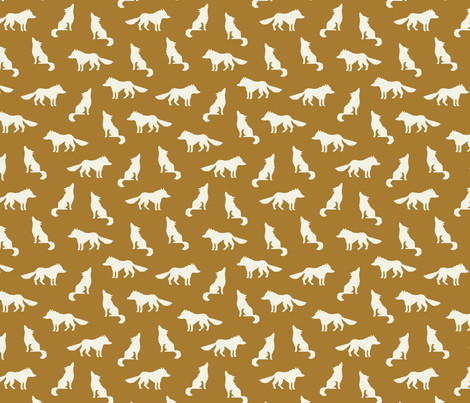 Wolf on golden brown fabric by heleen_vd_thillart on Spoonflower - custom fabric