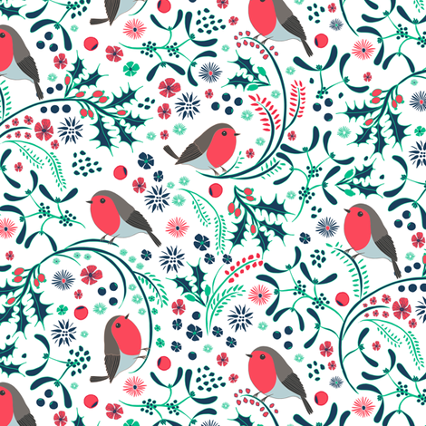 Ditsy Christmas Garden fabric by jill_o_connor on Spoonflower - custom fabric