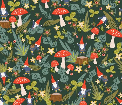 Woodland Gnomes (Large) fabric by shelbyallison on Spoonflower - custom fabric