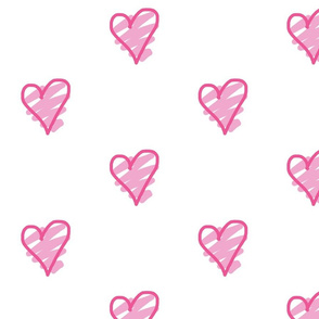 pink hearts doodle