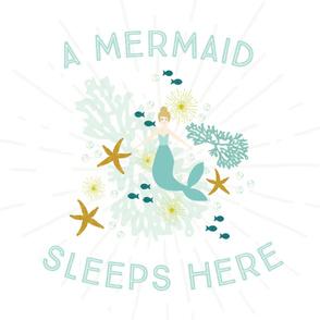 A Mermaid Sleeps Here Baby Blanket // Blonde