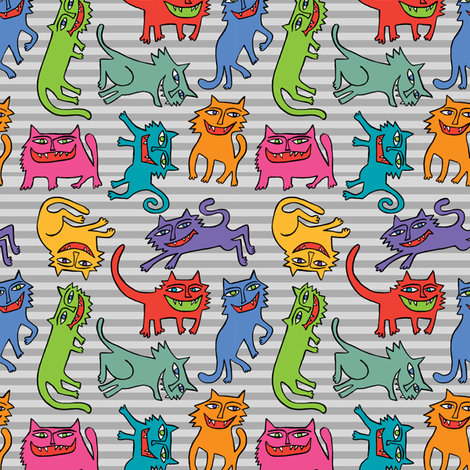 cats crazy stripes fabric by andiart on Spoonflower - custom fabric