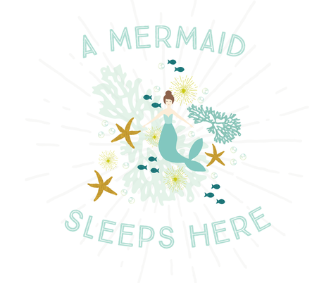A Mermaid Sleeps Here Baby Blanket // Brunette fabric by ivieclothco on Spoonflower - custom fabric