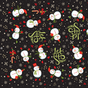 Tea Towel - Festive Snowmen Dark