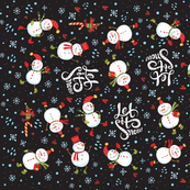 Tea Towel - Festive Snowmen Dark