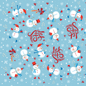 Tea Towel - Festive Snowmen Blue