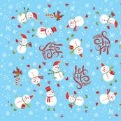 Tea Towel - Festive Snowmen Blue