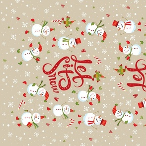 Tea Towel-Festive Snowmen Tan