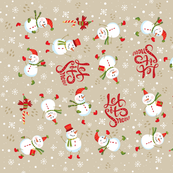 Tea Towel-Festive Snowmen Tan