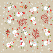Tea Towel - Festive Snowmen Tan