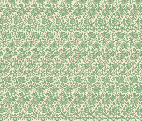 Pinks and Roses (cream/green ) fabric by studiofibonacci on Spoonflower - custom fabric