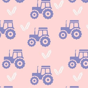 Pink tractor farm girl