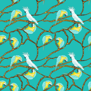 Tropical Birds on Golden Branches by Salzanos