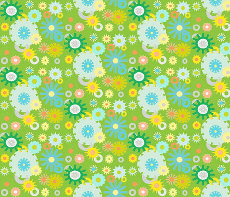 cog floral green fabric by dnbmama on Spoonflower - custom fabric
