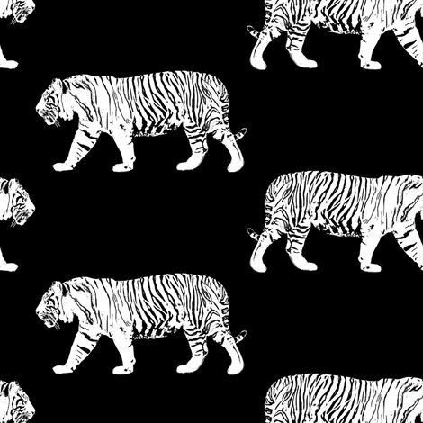 White Walking Tiger fabric by eclectic_house on Spoonflower - custom fabric
