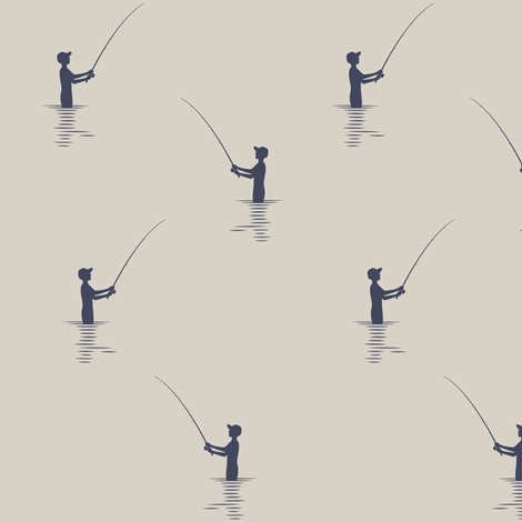fishing on beige || adventure camp fabric by littlearrowdesign on Spoonflower - custom fabric