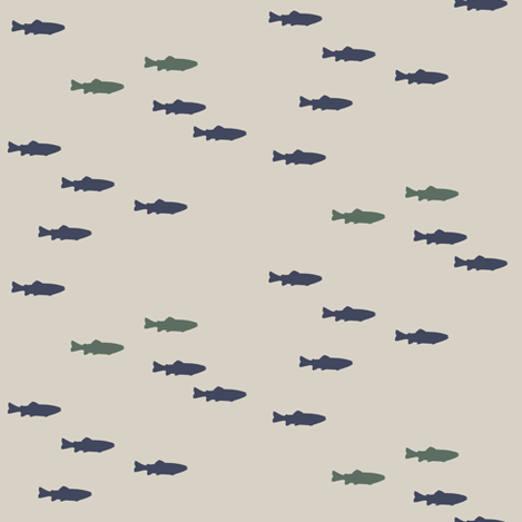 fish on beige || adventure camp fabric by littlearrowdesign on Spoonflower - custom fabric