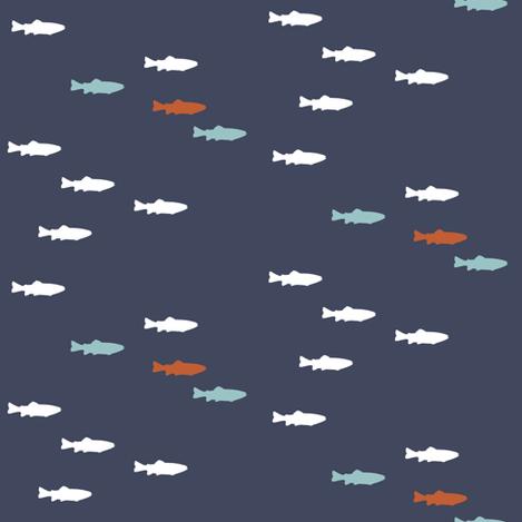 fish on superior blue fabric by littlearrowdesign on Spoonflower - custom fabric