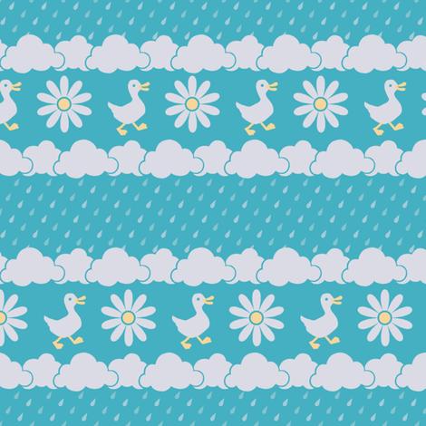 A Nice Day for Ducks (Turquoise) fabric by siya on Spoonflower - custom fabric