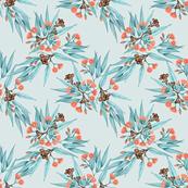 Gumnuts Eucalyptus Peach Blossom Pale BlueGrey