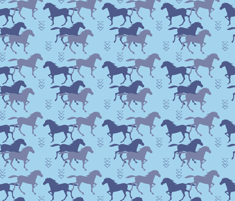 wild_horses_light_blue fabric by lub_by_lamb on Spoonflower - custom fabric