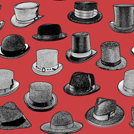 Vintage Men's Hats // Red fabric by thinlinetextiles on Spoonflower - custom fabric