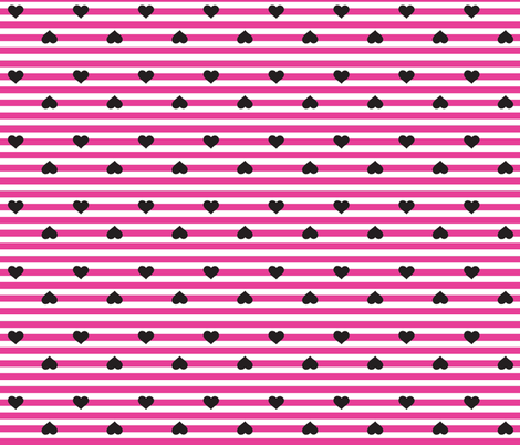 Hearts & Stripes - Pink/Black fabric by pumpkinbones on Spoonflower - custom fabric