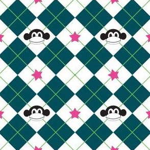 Argyle Monkey - Green/Pink