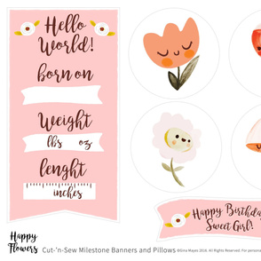 Happy Flowers Milestone Banners & Pillows