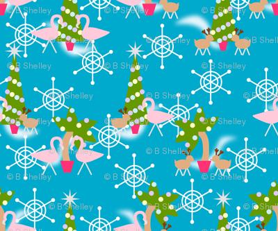 Vintage Inspired Flamingo Christmas