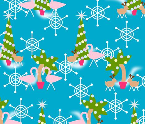 Vintage Inspired Flamingo Christmas fabric by blue_dog_decorating on Spoonflower - custom fabric