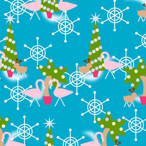 Vintage Inspired Flamingo Christmas