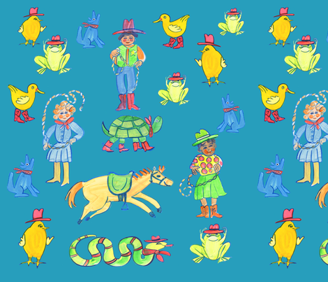 Cowboy_Cowgirl_Circus fabric by jenoiserie on Spoonflower - custom fabric
