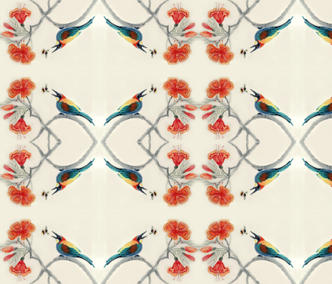 Jenoiserie_Tropical_bee_eater1 fabric by jenoiserie on Spoonflower - custom fabric